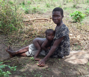 mum and son in the bush